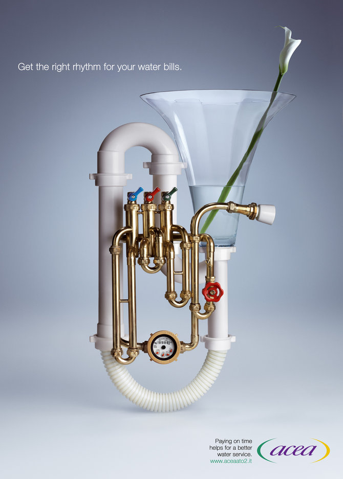 Get the right rhythm for your water bills 25 Extremely Creative  Advertisements That Makes You Look Twice
