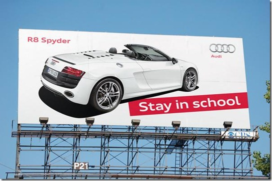 Audi R8 Spyder: Stay in school