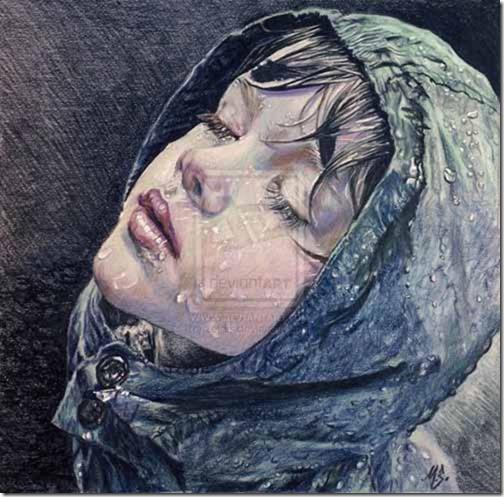 Watercolor Pencils Rain Art