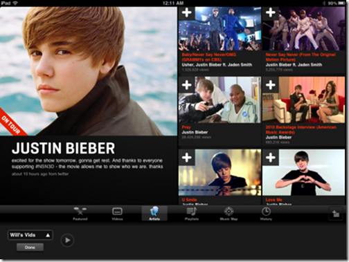 Vevo HD iPad App