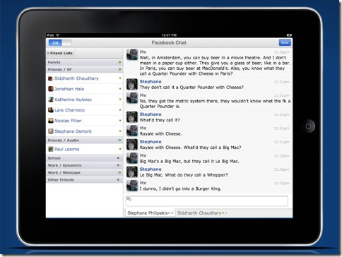 iPad2 friend facebook