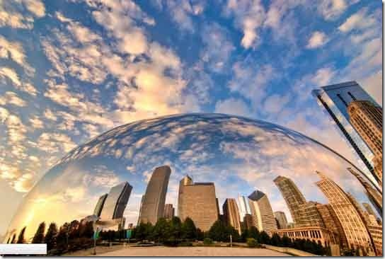 Cloud Gate and the City by Ali Erturk