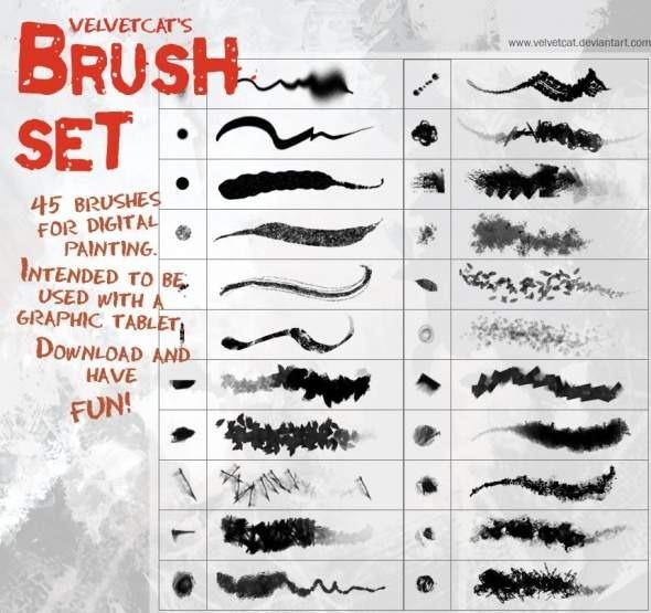 46 velvetcats brush set · drawing photoshop 12