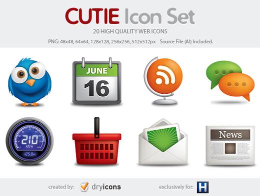 Cutie – 20 High Quality Web Icons