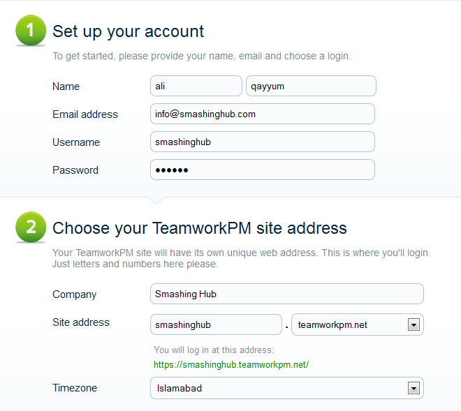 Sign Up for Teamwork Project Manager - Business 1 Price Plan