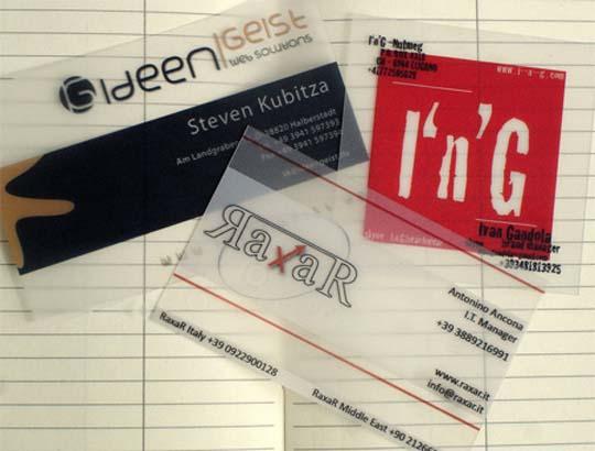 Transparente Visitenkarten auc PVC-Translucent Plastic Business Card
