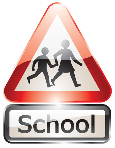 glossy school sign