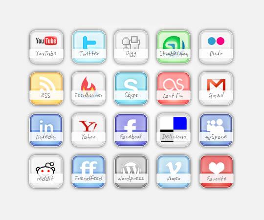 glossy social media icons