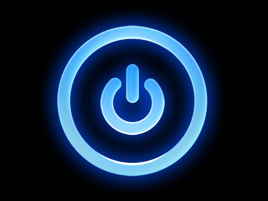 neon blue power button