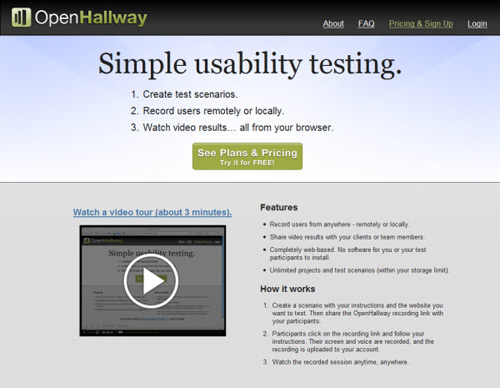 openhallway-Web Usability Testing Tools