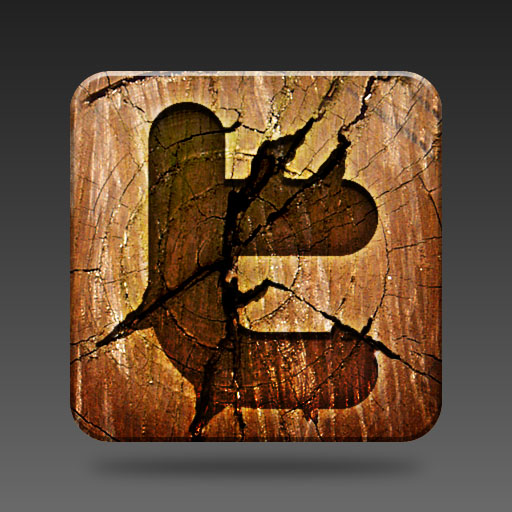 wooden twitter icon