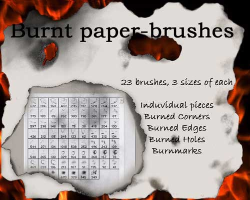 18-Burnt paper-brushes