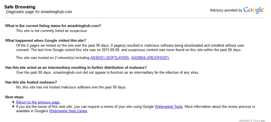 Google Safe Browsing diagnostic page for smashinghub.com