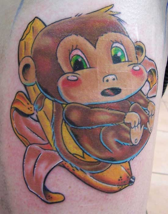 Cute monkey tattoo