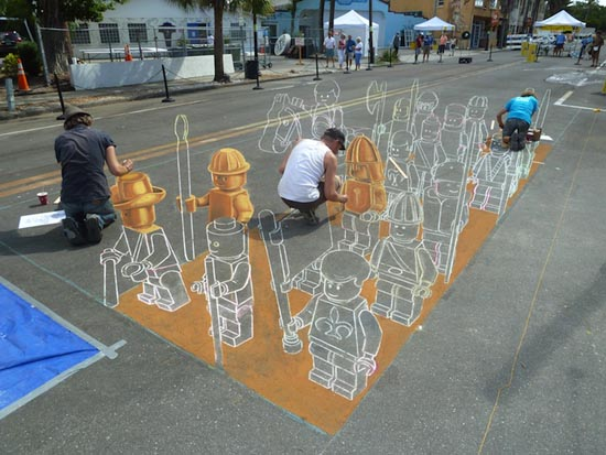3D-lego-chalk-drawing