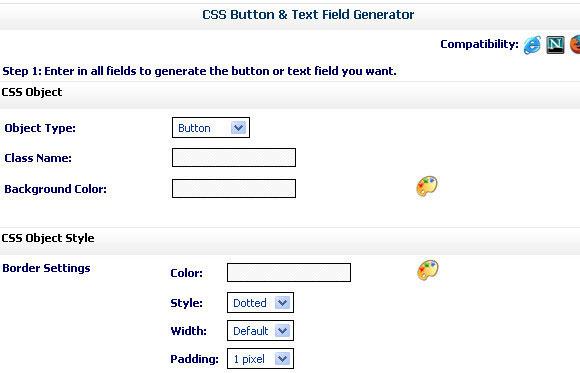 CSS Button & Text Field Generator