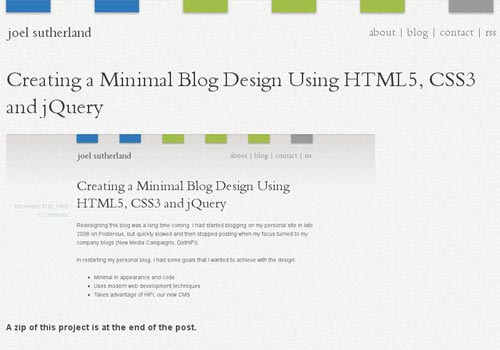 Creating A Minimal Blog Design Using HTML5, CSS3 And jQuery