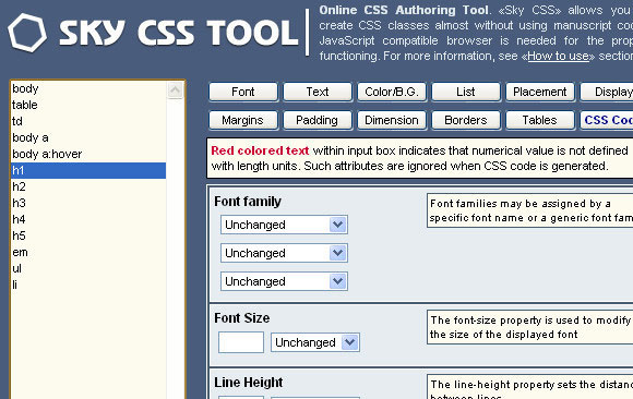 Sky CSS Tool