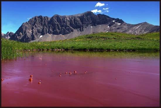 red lake at Sanetsch Pass, Switzerland