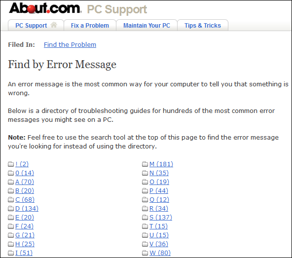 About-com Find By Error Message