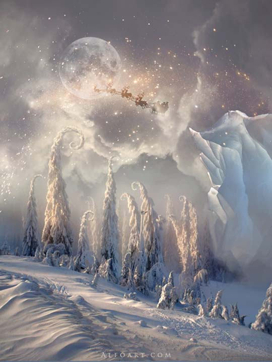 Christmas Night Magic Scene With Flying Santa