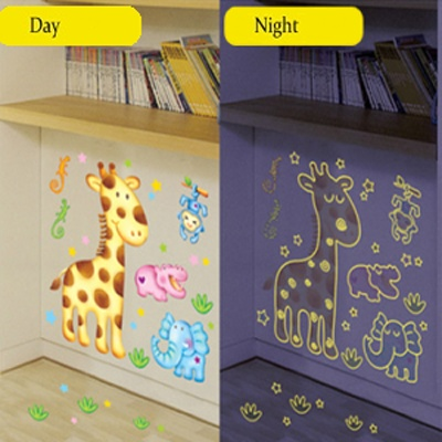 Animal Friends - Children's Glow in Dark Wall Sticker