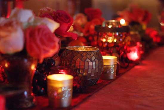Beautiful gold candles and flowers-03