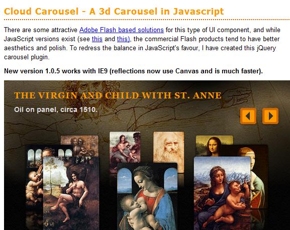 Cloud Carousel- A 3D Carousel in Javascript