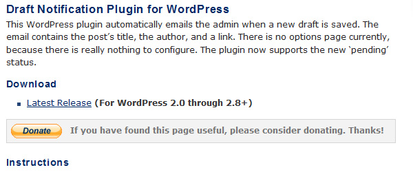 Draft Notification Plugin for WordPress