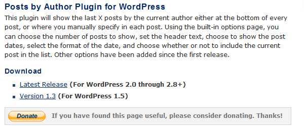 Posts by Author Plugin for WordPress