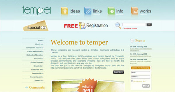 Temper XHTML And CSS Template