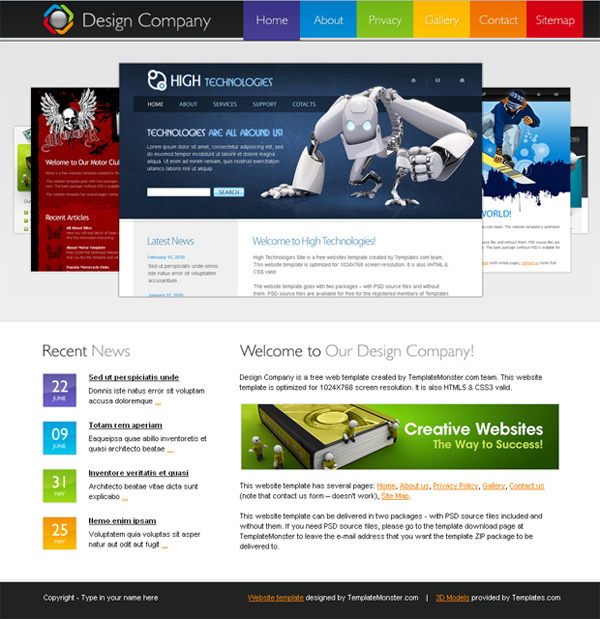 20 free and premium corporate htmlcss templates free html5 template for design company website cheaphphosting Images