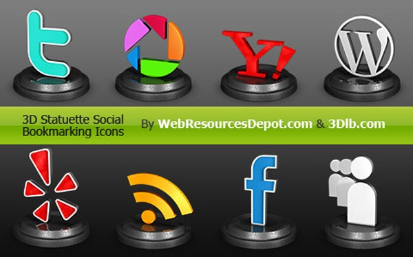 3D-Statuette-Social-Bookmarking-Icons