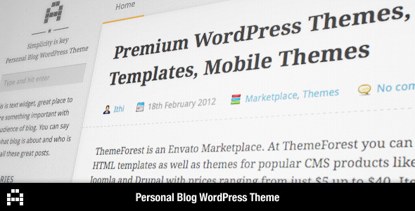 A - Personal Blog WordPress Theme