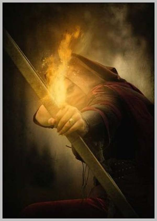 Photo Manipulation of an Assassin with a Flaming Arrow