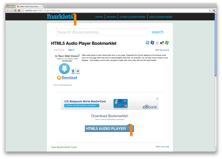 HTML5 Audio Player Bookmarklet