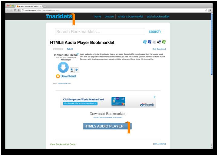 HTML5 Audio Player Bookmarklet