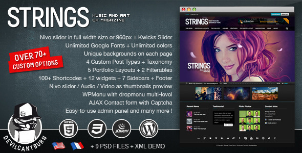 Strings Music and Art Magazine WordPress