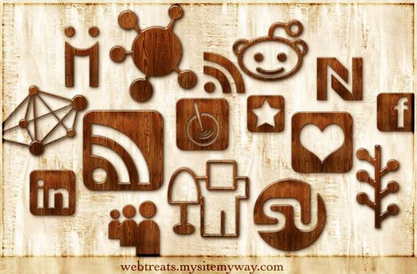 glossy-waxed-wood-social-media-icon-set