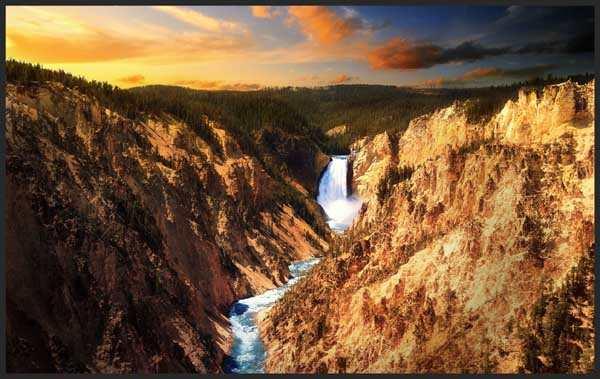 Lower falls Yellow stone by Dominic Kamp