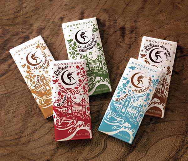 Moon Struck Chocolate Package Design