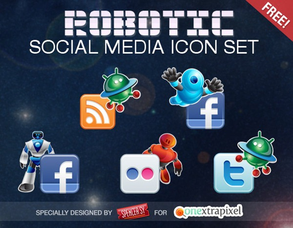 robotic-social-media-icon-set