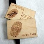 Birch wood business cards - laser cut + laser engraving