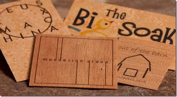 Brown Wooden Business Card