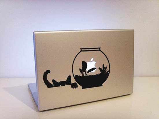 Cat and Aquarium MacBook Sticker
