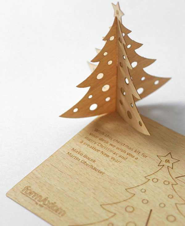 Christmas Wood Business Card