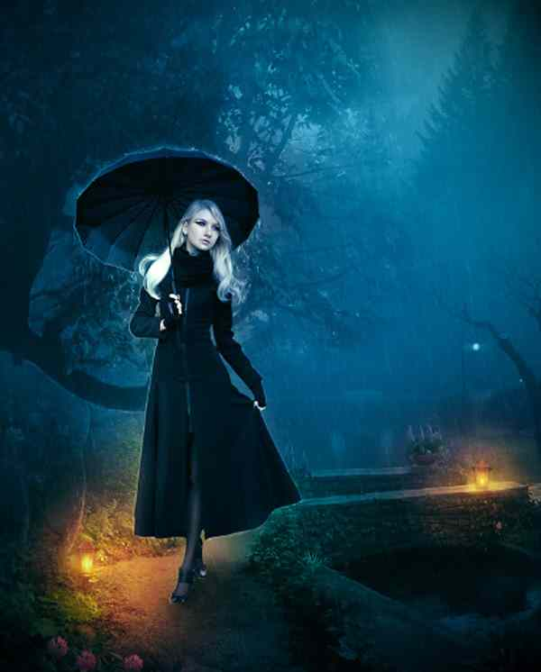 Create a Lady Walking in Night Scene