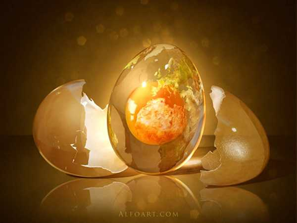 Incredible Globe-Egg Manipulation through Photoshop