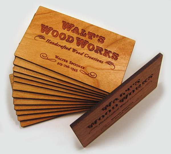 Laser Engraved, Cherry Wood Business Cards by Lunn Spooner