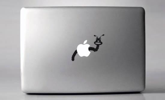 Wormy Macbook Sticker